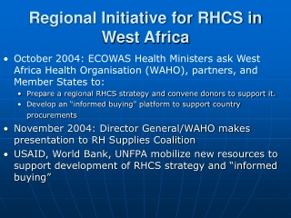 Regional Initiative for RHCS in West Africa