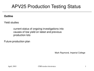 APV25 Production Testing Status