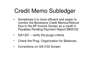 Credit Memo Subledger