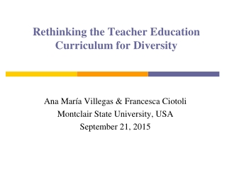Rethinking the Teacher Education Curriculum for Diversity