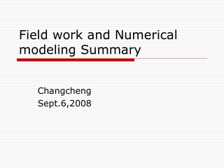 Field work and Numerical modeling Summary