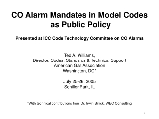 CO Alarm Mandates in Model Codes  as Public Policy