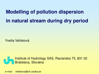 Modelling of pollution dispersion  in natural stream during dry period