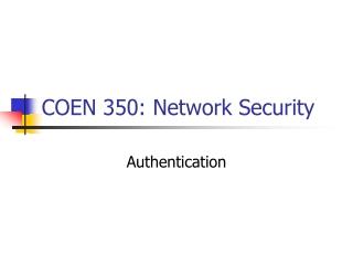 COEN 350: Network Security