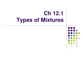 Ch 12.1  Types of Mixtures