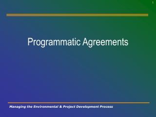 Programmatic Agreements