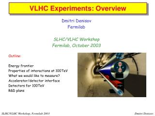 Dmitri Denisov Fermilab SLHC/VLHC Workshop Fermilab, October 2003 Outline: Energy frontier