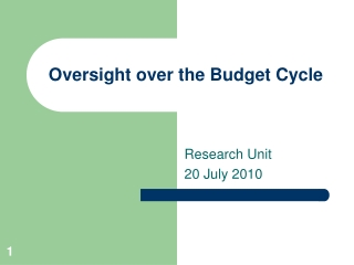 Oversight over the Budget Cycle