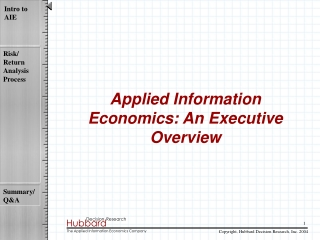 Applied Information Economics: An Executive Overview