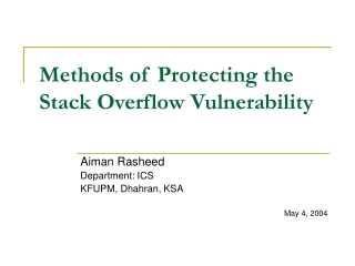 Methods of Protecting the Stack Overflow Vulnerability