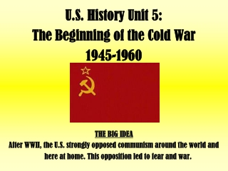 U.S. History Unit 5:   The Beginning of the Cold War  1945-1960 THE BIG IDEA