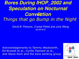 Bores During IHOP_2002 and Speculation on Nocturnal Convection