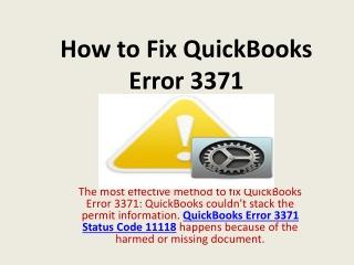 Resolve ☎ I8OO-993-4I9O Quickbooks Error Code 3371