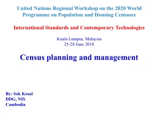 United Nations Regional Workshop on the 2020 World Programme on Population and Housing Censuses