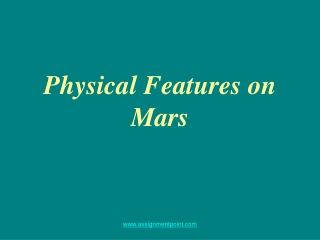 Physical Features on Mars