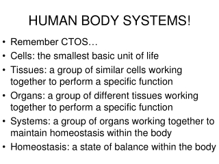 HUMAN BODY SYSTEMS!