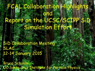 FCAL Collaboration Highlights and Report on the UCSC/SCIPP SiD Simulation Effort