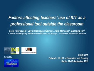 Factors affecting teachers '  use of ICT as a professional tool outside the classroom