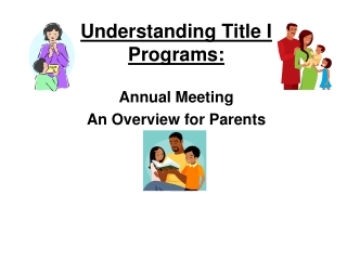 Understanding Title I Programs: Annual Meeting  An Overview for Parents