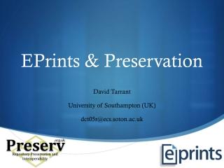 EPrints & Preservation