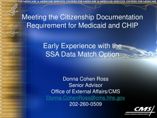 Meeting the Citizenship Documentation Requirement for Medicaid and CHIP