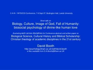 C-A-N- / WYSOCS Conference, 7-8 Sept 07, Bodington Hall, Leeds University Short tallk on