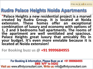 Rudra Group apartments in affordable price @ 09999684955 @ n