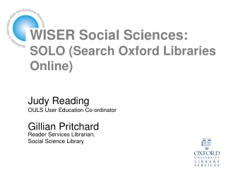 WISER Social Sciences: SOLO (Search Oxford Libraries Online)
