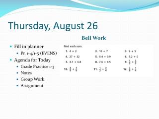 Thursday, August 26