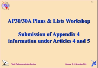 AP30/30A Plans & Lists Workshop Submission of Appendix 4 information under Articles 4 and 5