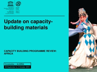 Update on capacity-building materials
