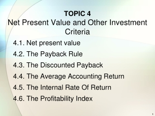 TOPIC  4 Net Present Value and Other Investment Criteria