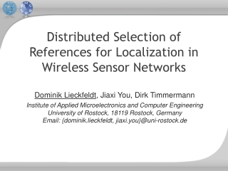 Distributed Selection of References for Localization in Wireless Sensor Networks