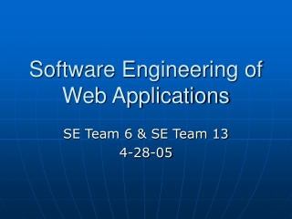 Software Engineering of Web Applications
