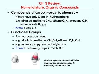 Ch. 3 Review:  Nomenclature: Organic Compounds