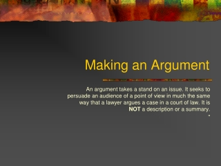 Making an Argument