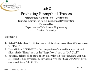 Lab 8 Predicting Strength of Trusses Approximate Running Time – 20 minutes