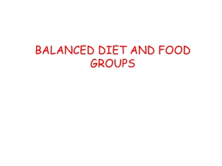 BALANCED DIET AND FOOD GROUPS