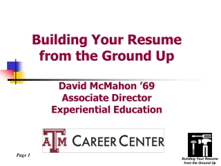 Building Your Resume from the Ground Up