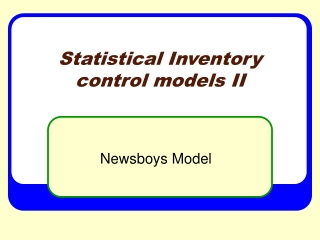 Statistical Inventory control models II