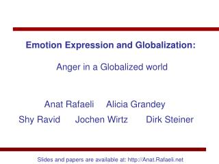 Emotion Expression and Globalization:   Anger in a Globalized world