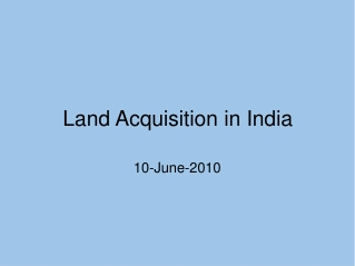Land Acquisition in India