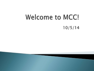 Welcome to MCC!