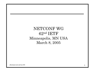 NETCONF WG 62 nd  IETF Minneapolis, MN USA March 8, 2005