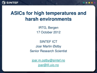 ASICs for high temperatures and harsh environments