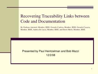 Presented by Paul Heintzelman and Bob Mazzi 12/2/08