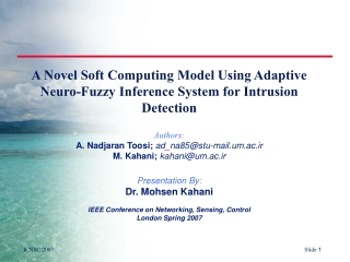 A Novel Soft Computing Model Using Adaptive  Neuro -Fuzzy Inference System for Intrusion Detection