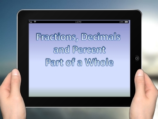 Fractions, Decimals  and Percent Part of a Whole