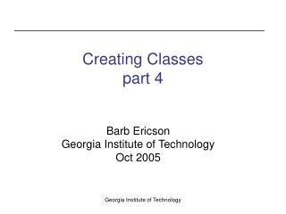 Creating Classes part 4