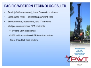 PACIFIC WESTERN TECHNOLOGIES, LTD. Small (<500 employees), local Colorado business